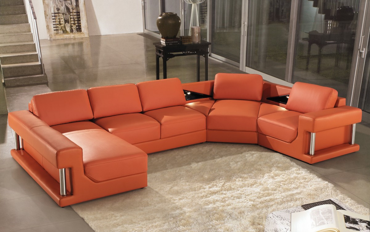 Best ideas about Orange Leather Sofa . Save or Pin 2315B Modern Orange Leather Sectional Sofa Now.