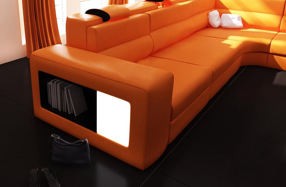 Best ideas about Orange Leather Sofa . Save or Pin Polaris Orange Italian Leather Sectional Sofa Now.
