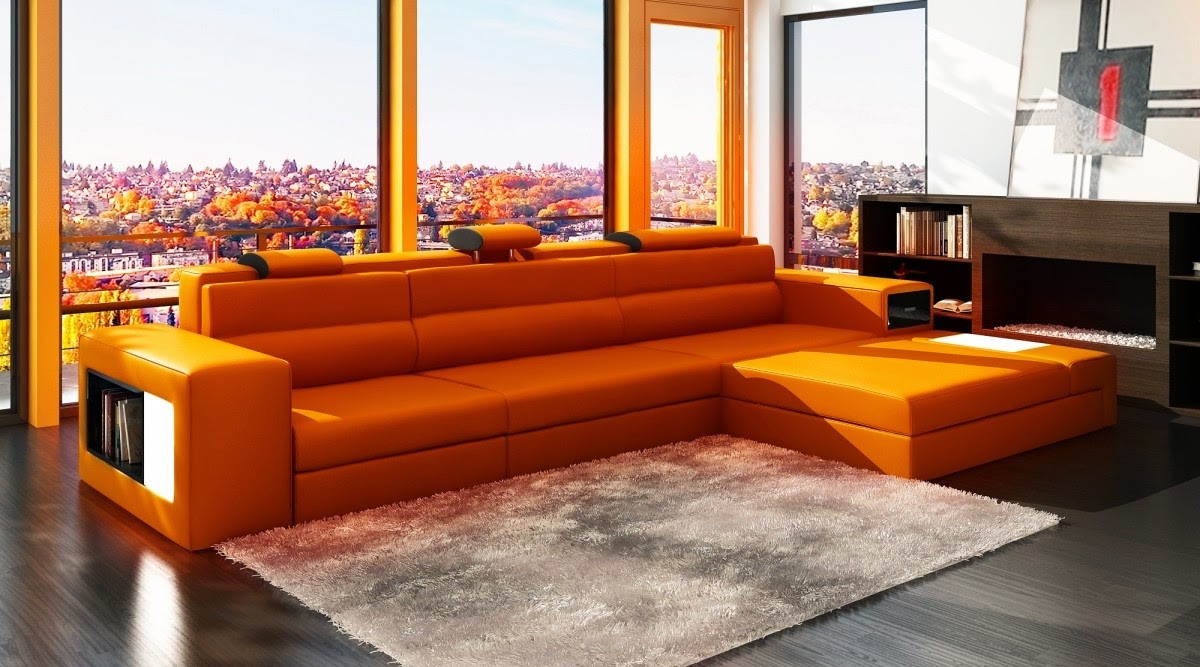 Best ideas about Orange Leather Sofa . Save or Pin Orange Sofa Freshnist Design Now.