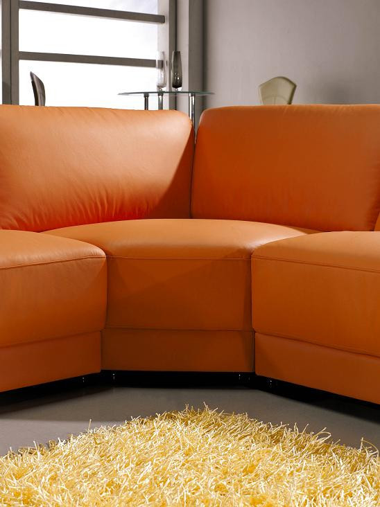 Best ideas about Orange Leather Sofa . Save or Pin 3333 Contemporary Leather Sectional sofa in Orange Color Now.