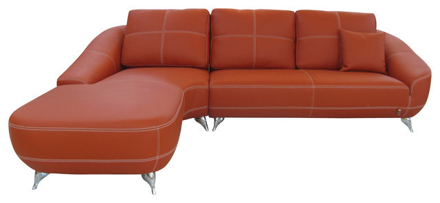 Best ideas about Orange Leather Sofa . Save or Pin Orange Lucy Leather Sectional Sofa Contemporary Now.