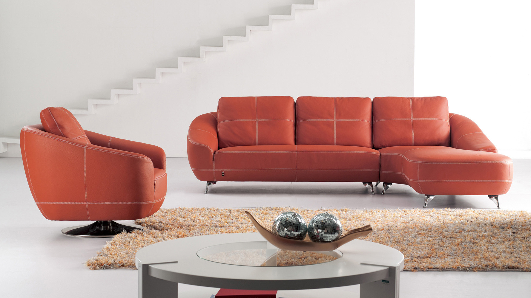 Best ideas about Orange Leather Sofa . Save or Pin Orange Lucy Leather Sectional Sofa Now.