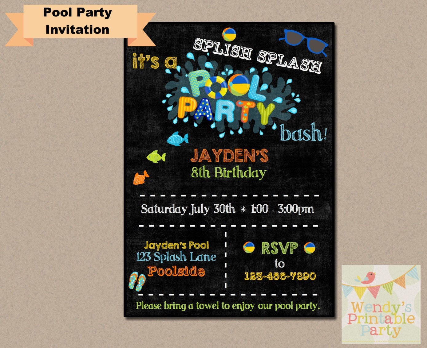 Best ideas about Order Birthday Invitations . Save or Pin 002 Pool Party Swimming Birthday Invitation Printable Now.