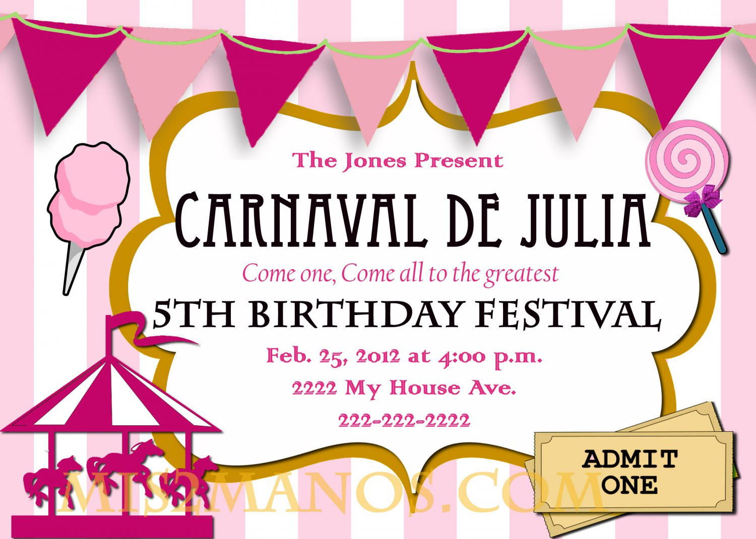 Best ideas about Order Birthday Invitations . Save or Pin Carnival Birthday Party Invitation diy Printable Pink Now.