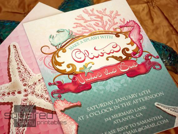 Best ideas about Order Birthday Invitations . Save or Pin Mermaid Printable Birthday Party Invitation Under the Sea Now.