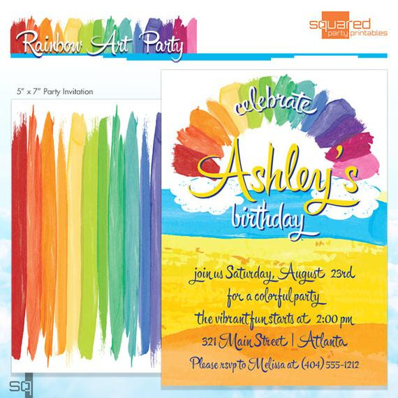 Best ideas about Order Birthday Invitations . Save or Pin Rainbow Party Invitation Rainbow Art Party Melted Now.