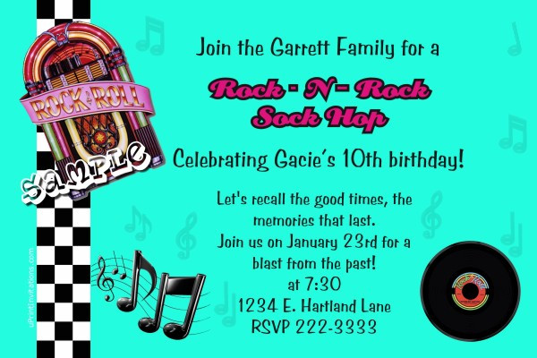 Best ideas about Order Birthday Invitations . Save or Pin 50 s Sock Hop Birthday Invitations Now.