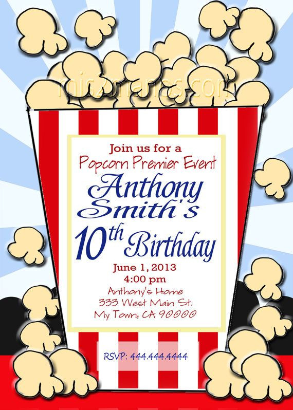 Best ideas about Order Birthday Invitations . Save or Pin Popcorn Birthday Movie Night Printable Party Invitation Now.