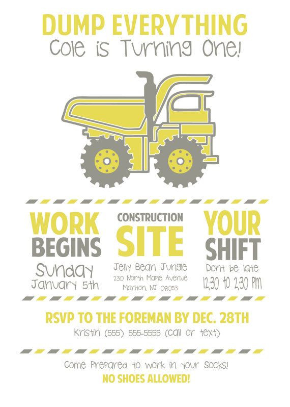Best ideas about Order Birthday Invitations . Save or Pin CUSTOM Little boy DUMP TRUCK Birthday Party Invitations Now.