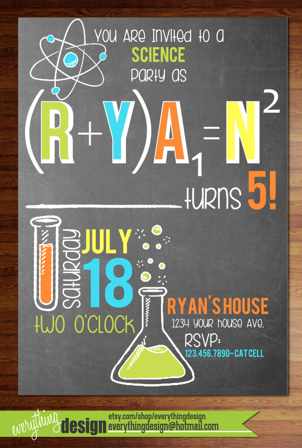 Best ideas about Order Birthday Invitations . Save or Pin Custom printed science party invitations birthday shower Now.