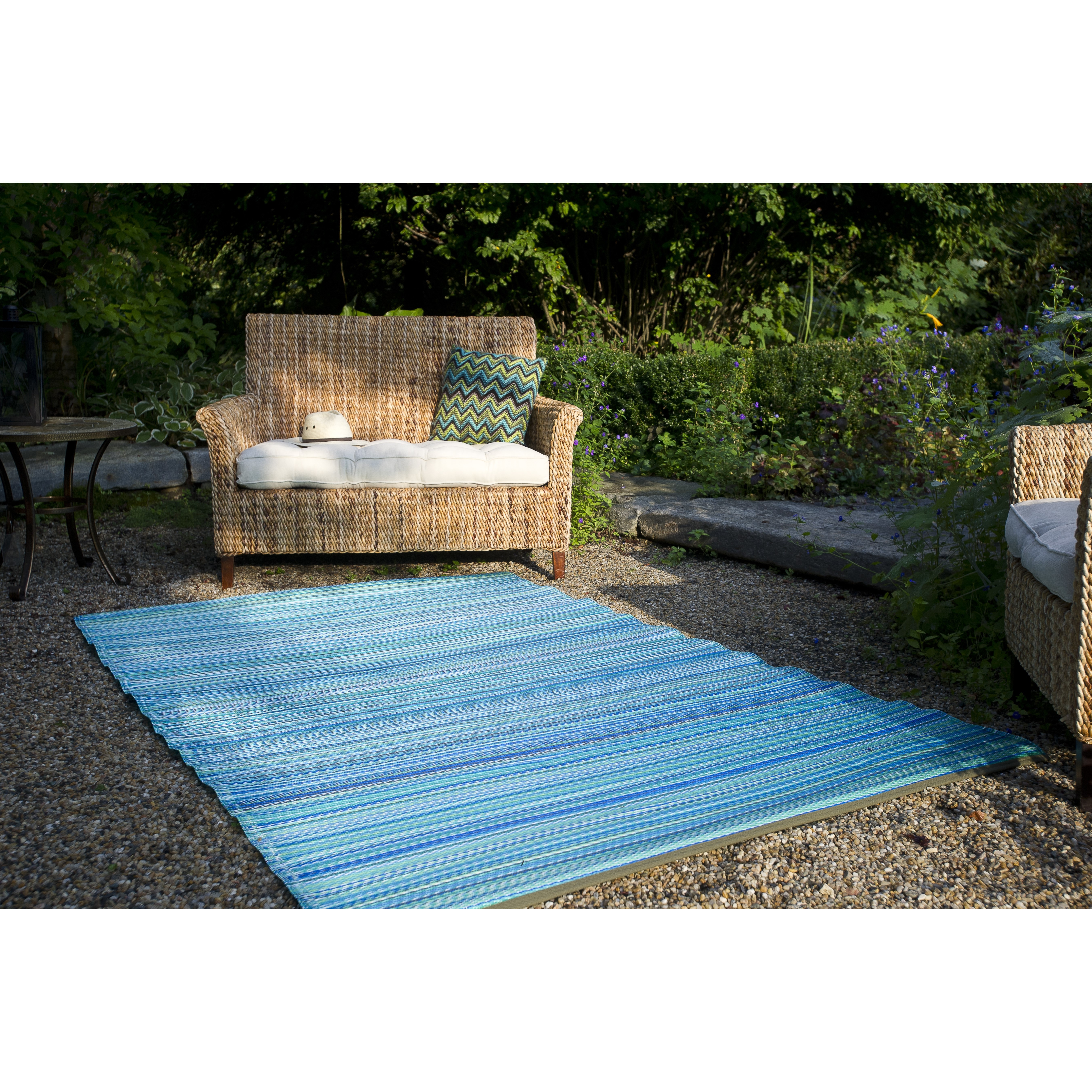 Best ideas about Outdoor Area Rugs . Save or Pin Fab Rugs World Turquoise Moss Green Cancun Stripe Indoor Now.
