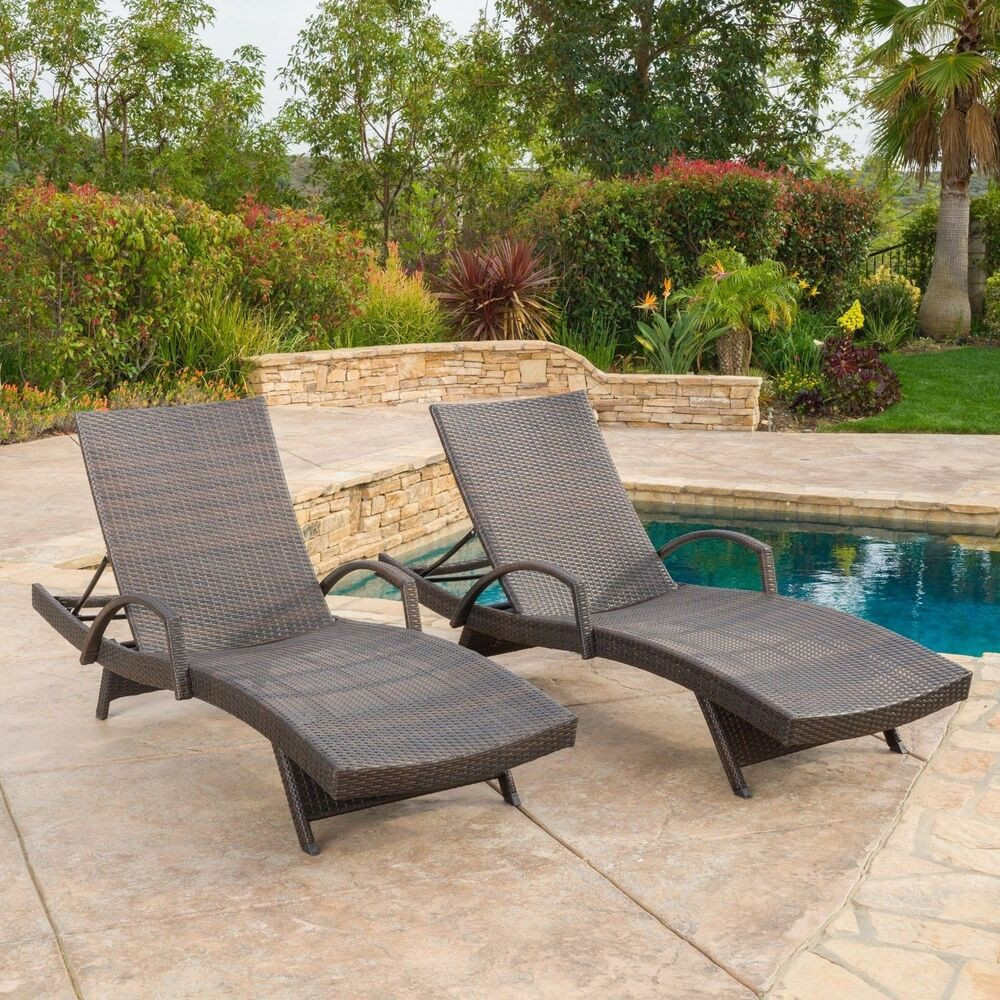 Best ideas about Outdoor Lounge Chairs . Save or Pin Set of 2 Outdoor Brown Wicker Armed Chaise Lounge Chair Now.