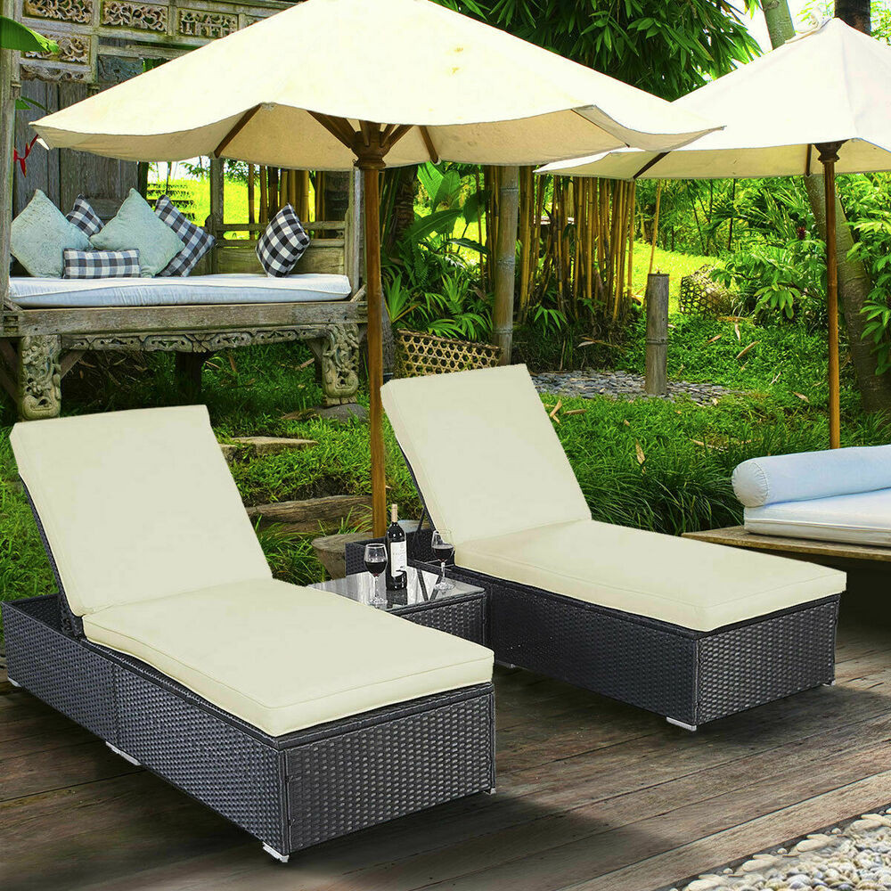 Best ideas about Outdoor Lounge Chairs . Save or Pin 3 Piece Wicker Rattan Chaise Lounge Chair Set Patio Steel Now.