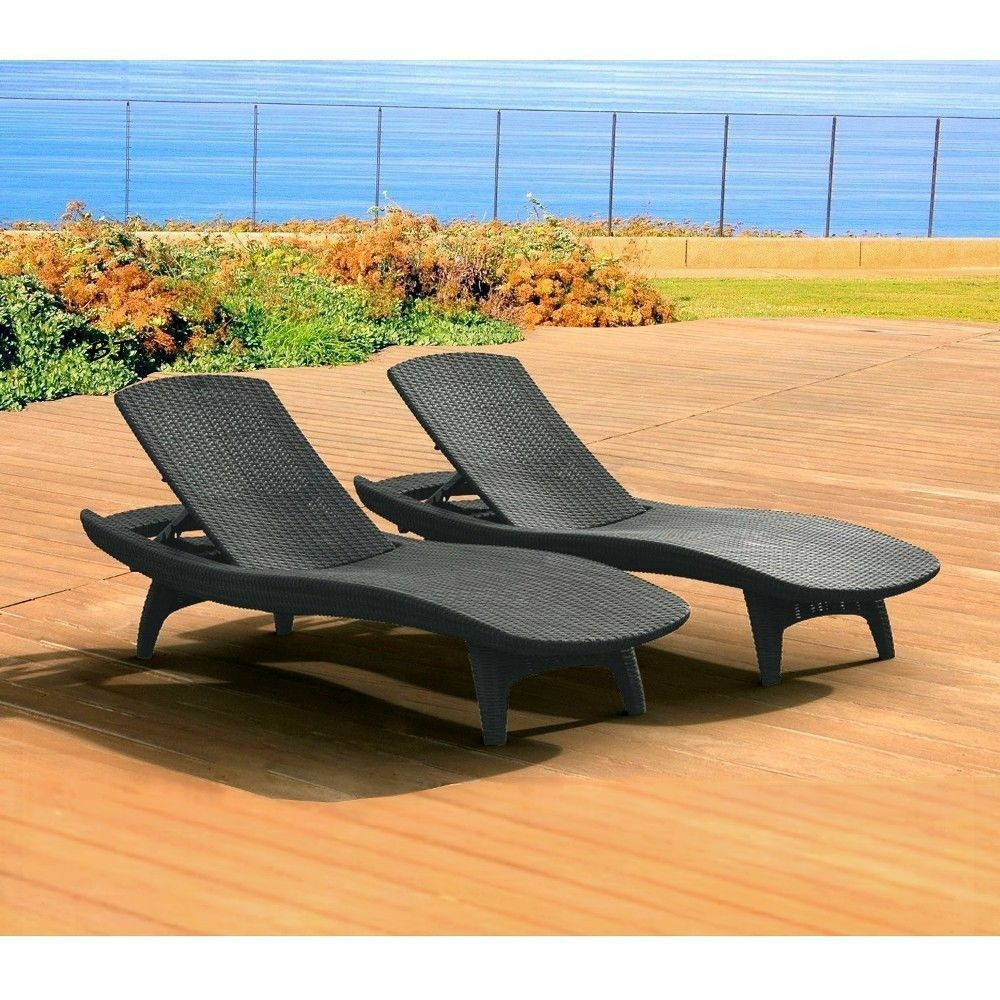 Best ideas about Outdoor Lounge Chairs . Save or Pin Outdoor Lounge Chair Set 2 Patio Rattan Gray Pool Deck Now.