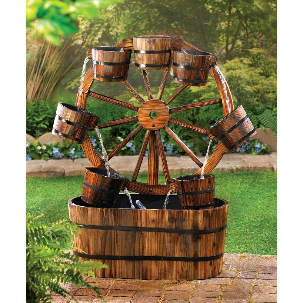 Best ideas about Outdoor Water Fountain . Save or Pin WAGON WHEEL WATER FOUNTAIN RUSTIC FIR WOOD GARDEN PATIO Now.
