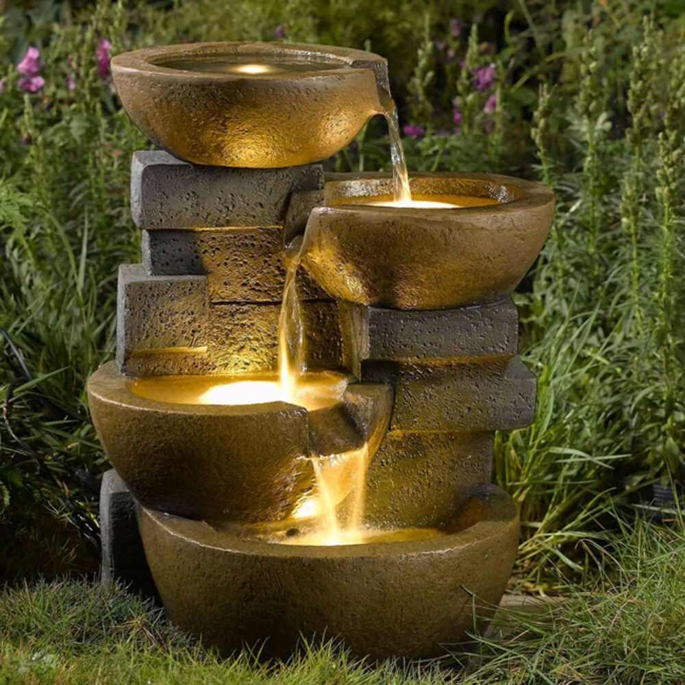 Best ideas about Outdoor Water Fountain . Save or Pin Water Fountain Pots LED Lights Outdoor Yard Garden Water Now.