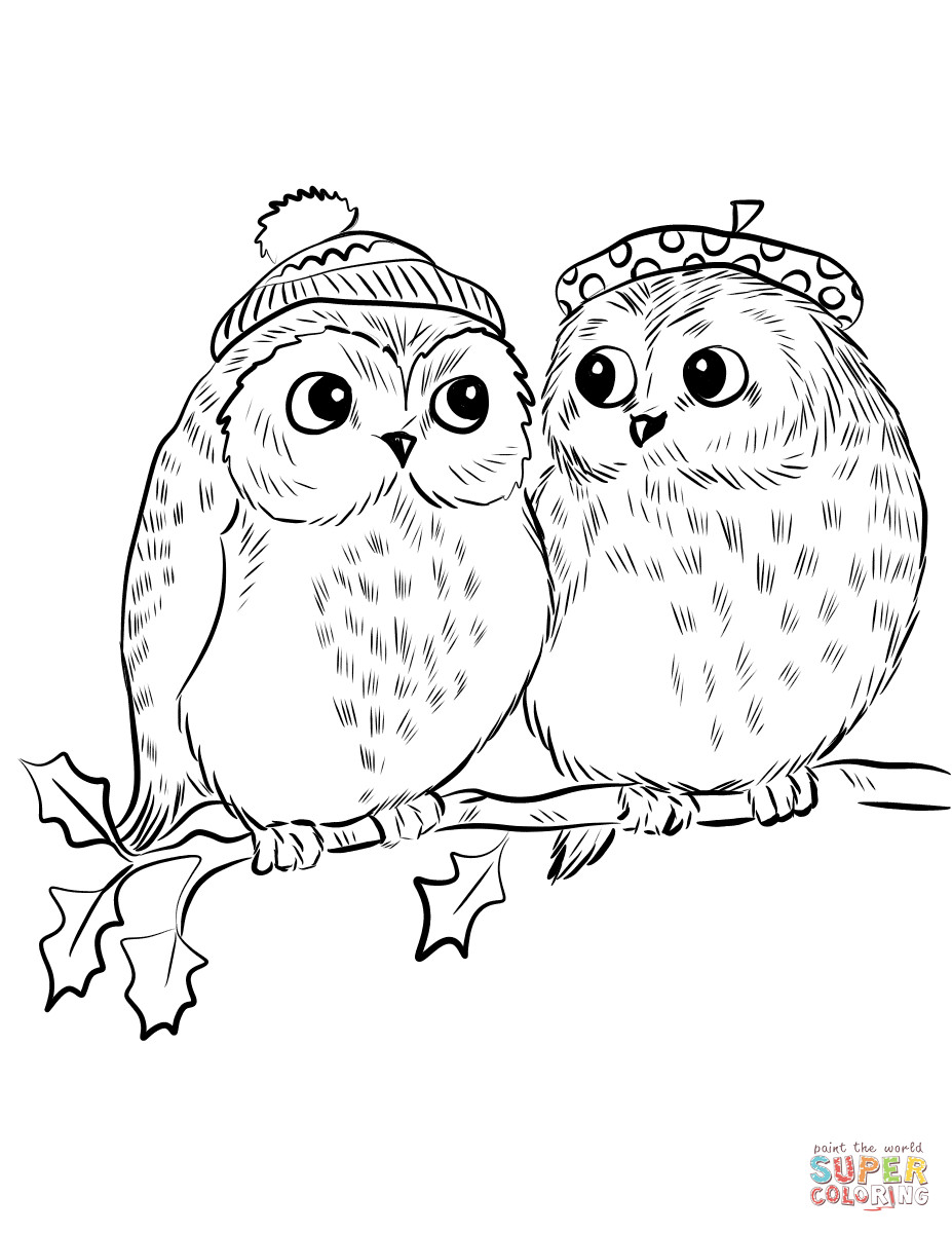 Best ideas about Owl Coloring Sheets For Girls That Say Mom . Save or Pin Couple of Cute Owls coloring page Now.