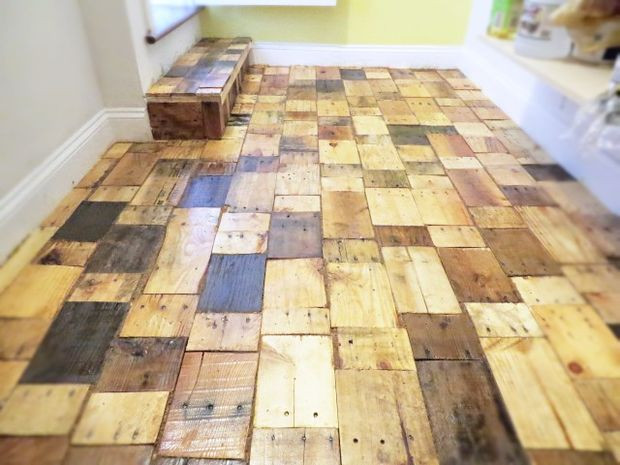 Best ideas about Pallet Flooring DIY . Save or Pin Creating a DIY Pallet Wood Floor with free wood Now.