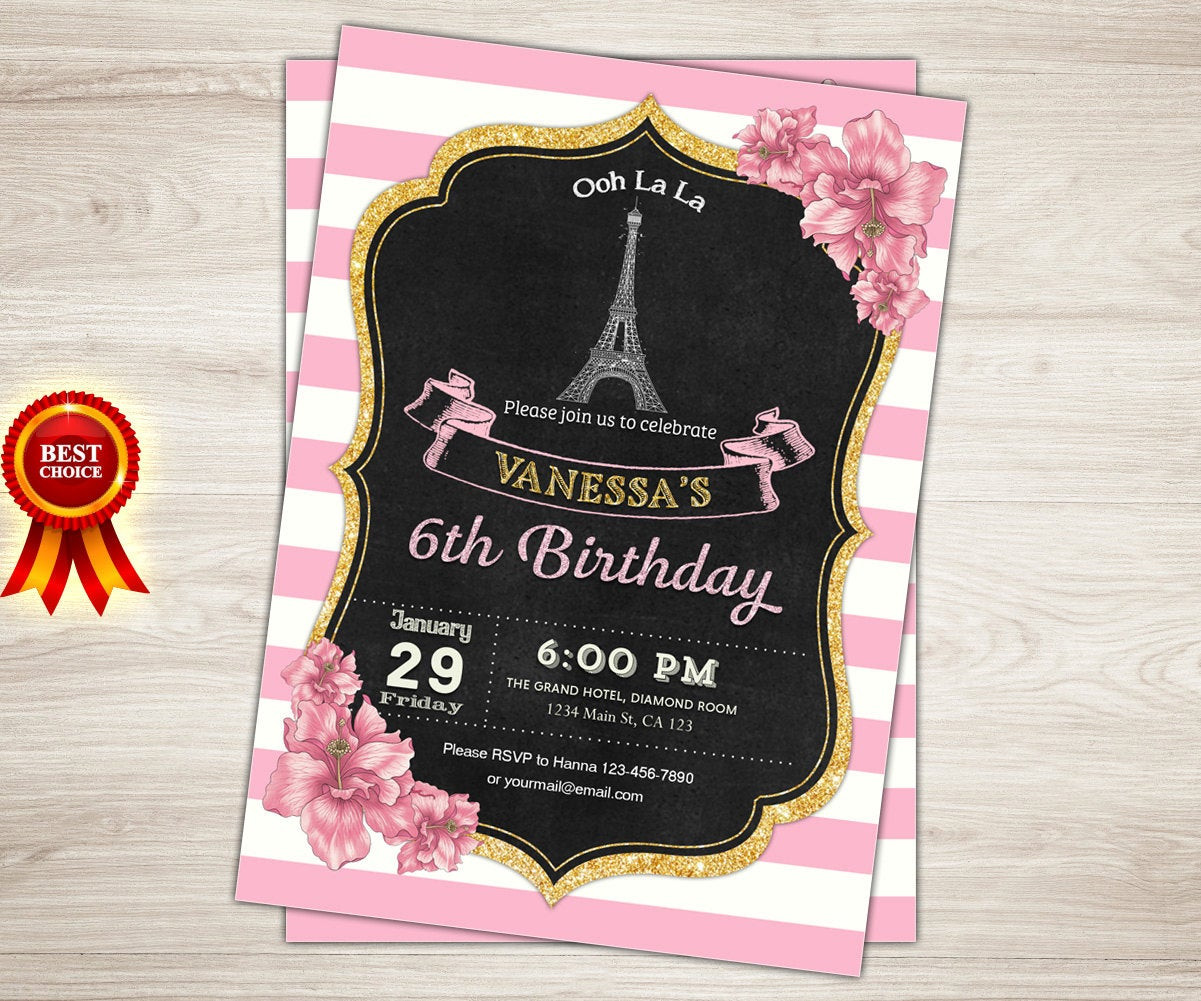 Best ideas about Paris Themed Birthday Invitations . Save or Pin Paris Invitation Paris 1st Birthday Invitation Girl Pink and Now.