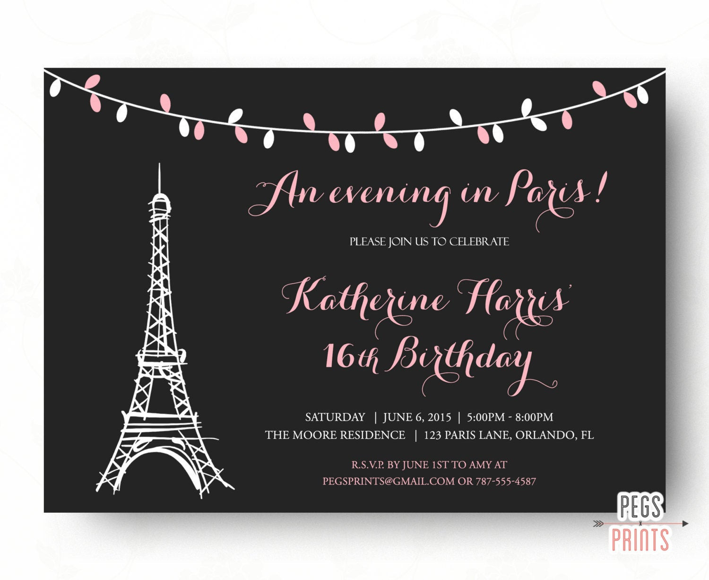 Best ideas about Paris Themed Birthday Invitations . Save or Pin Paris Sweet 16 Birthday Invitations Printable Paris Theme Now.