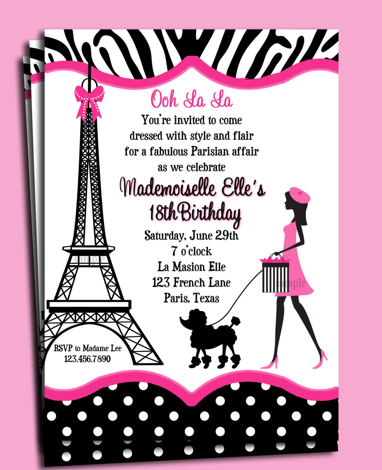 Best ideas about Paris Themed Birthday Invitations . Save or Pin Paris Invitation Printable or Printed with FREE SHIPPING Now.