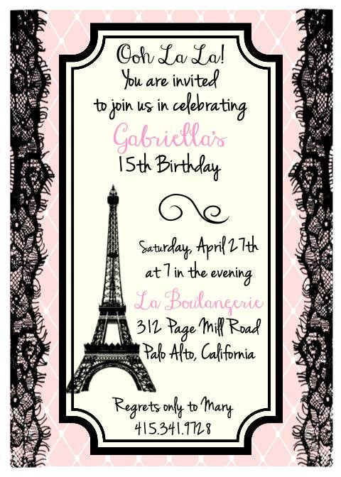 Best ideas about Paris Themed Birthday Invitations . Save or Pin Printed Eiffel Tower Parisian Theme Birthday Bridal Shower Now.