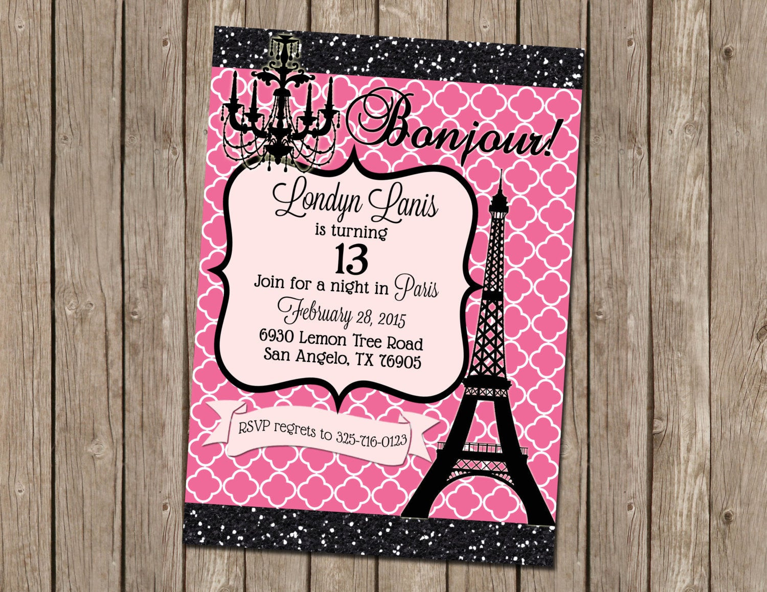 Best ideas about Paris Themed Birthday Invitations . Save or Pin Teen Paris Themed Party Invitation Pink by Now.