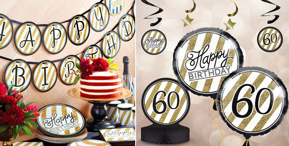 Best ideas about Party City 60th Birthday . Save or Pin White & Gold Striped 60th Birthday Party Supplies Party City Now.
