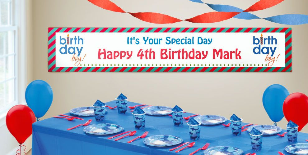 Best ideas about Party City Birthday Banners . Save or Pin Custom Boys Happy Birthday Banners Party City Now.