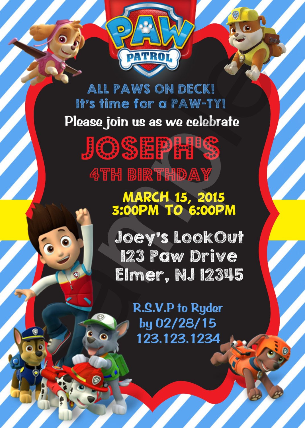 Best ideas about Paw Patrol Birthday Invitations With Photo . Save or Pin Paw patrol birthday invitations paw patrol birthday Now.