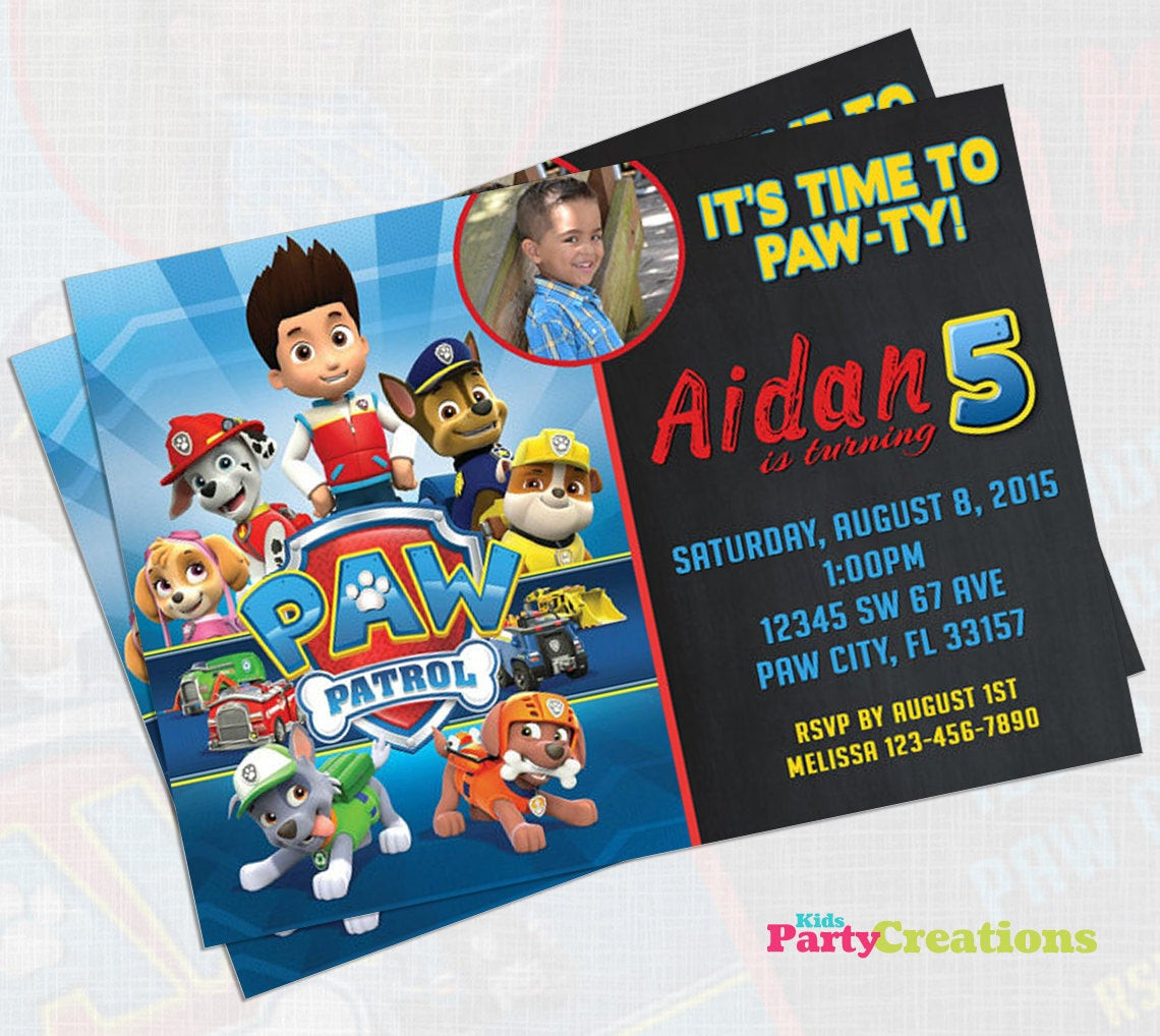 Best ideas about Paw Patrol Birthday Invitations With Photo . Save or Pin Paw Patrol Birthday Invitation Now.