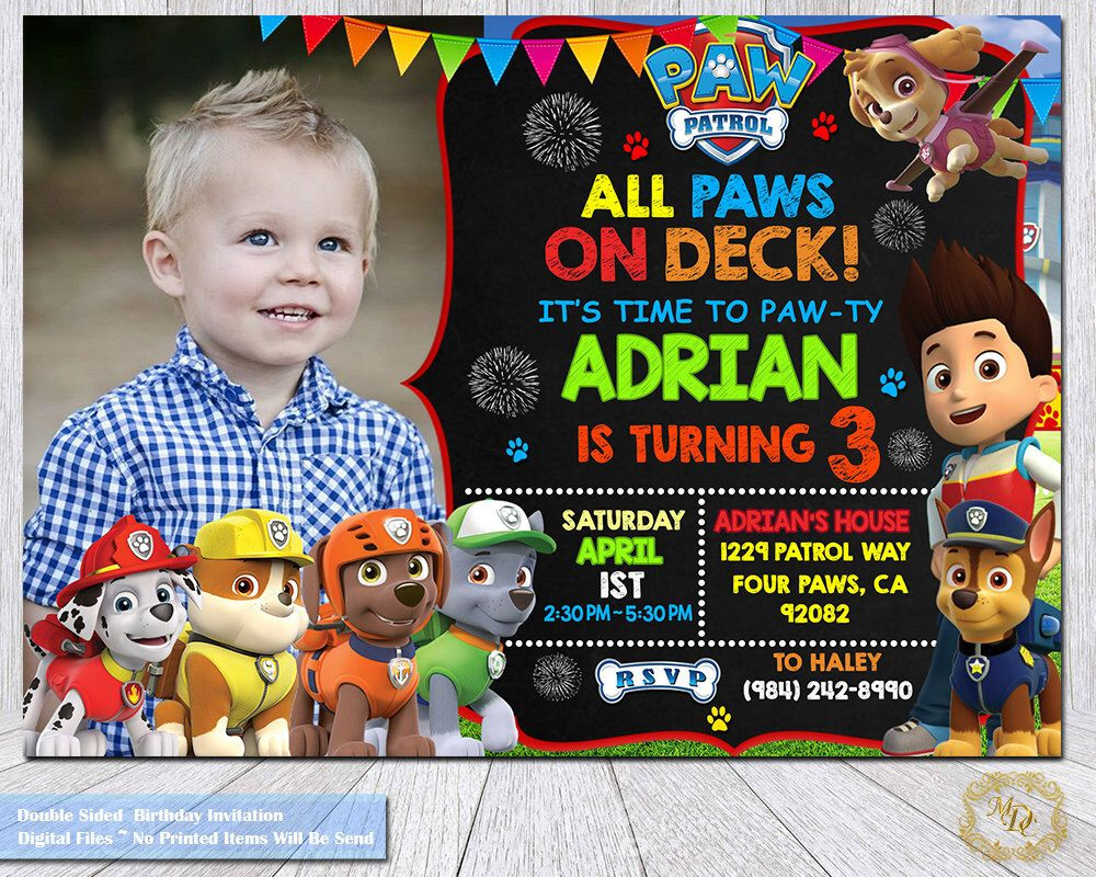 Best ideas about Paw Patrol Birthday Invitations With Photo . Save or Pin Pin by Tiffany Sparks on Blaine s Bday Now.