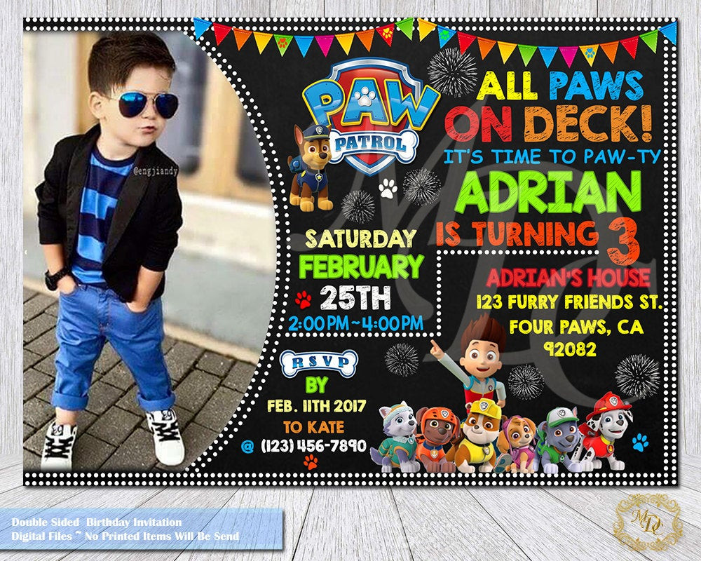 Best ideas about Paw Patrol Birthday Invitations With Photo . Save or Pin Paw Patrol Birthday Invitation Paw Patrol Invitation Paw Now.
