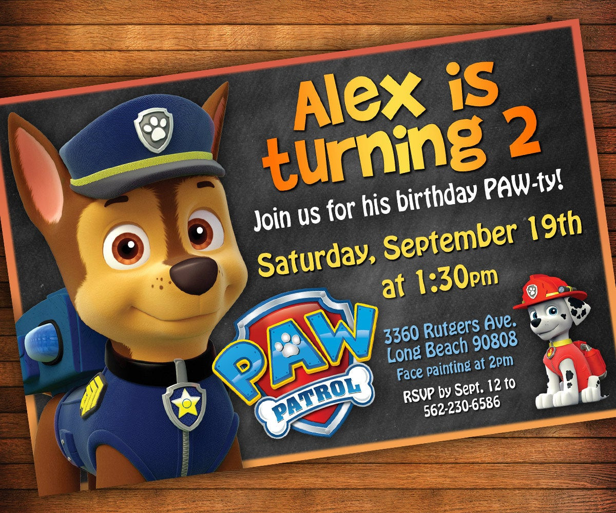 Best ideas about Paw Patrol Birthday Invitations With Photo . Save or Pin Paw Patrol Invitation Paw Patrol Birthday Party Invitation Now.