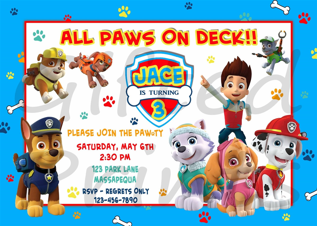 Best ideas about Paw Patrol Birthday Invitations With Photo . Save or Pin Birthday Invitation Paw Patrol Theme Now.
