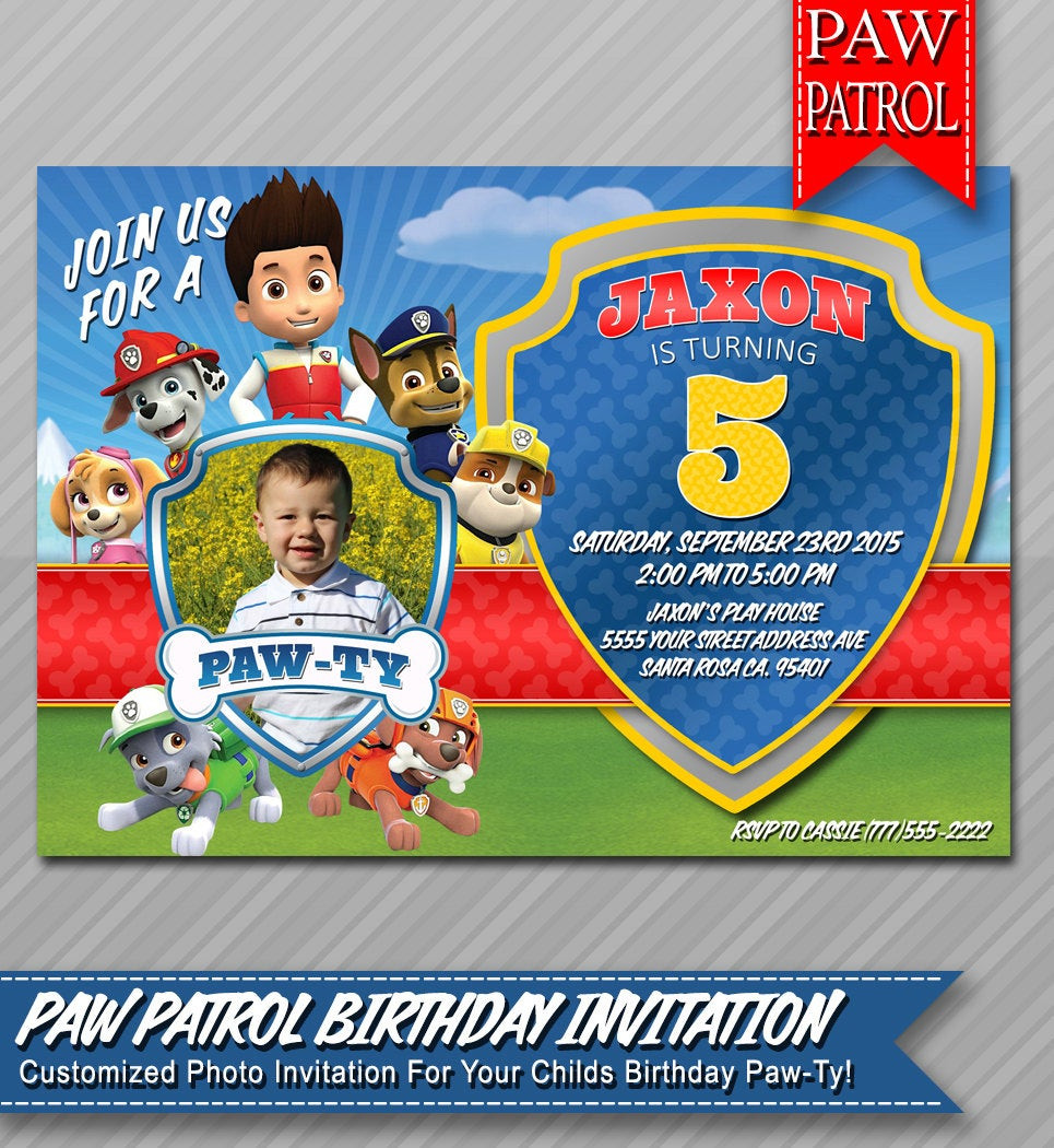 Best ideas about Paw Patrol Birthday Invitations With Photo . Save or Pin Paw Patrol Invitation Paw Patrol Birthday by ePartyPrintables Now.