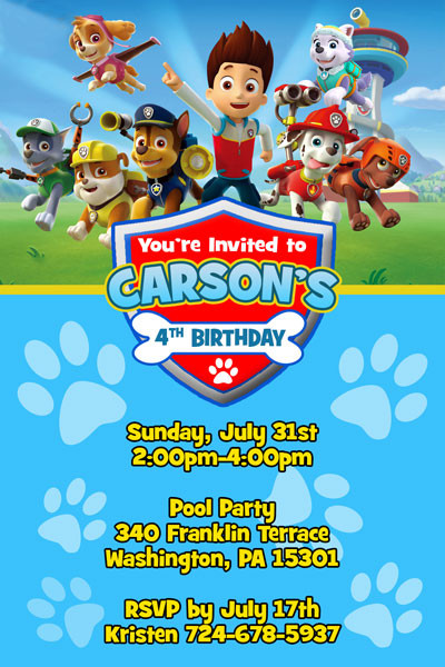 Best ideas about Paw Patrol Birthday Invitations With Photo . Save or Pin Paw Patrol Invitations from General Prints Now.