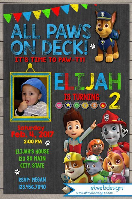 Best ideas about Paw Patrol Birthday Invitations With Photo . Save or Pin Paw Patrol Birthday Invitation with photo Custom Nick Jr Now.