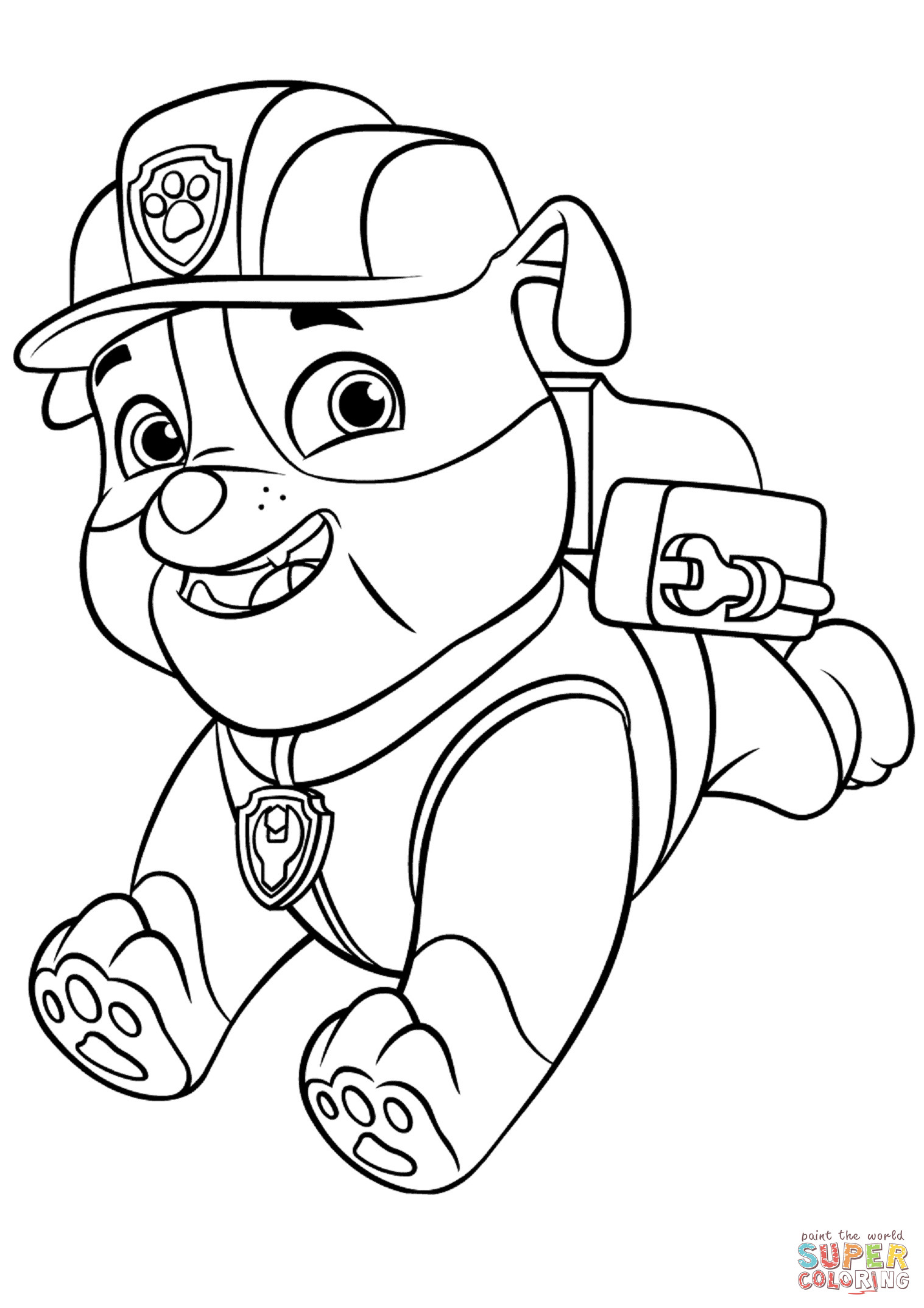 Best ideas about Paw Patrol Free Coloring Sheets . Save or Pin Paw Patrol Rubble with Backpack coloring page Now.