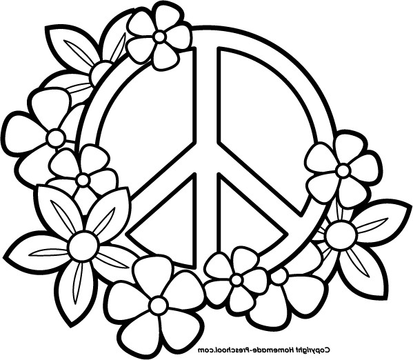 Best ideas about Peace Sign Coloring Sheets For Girls . Save or Pin Peace Sign clipart colouring page Pencil and in color Now.