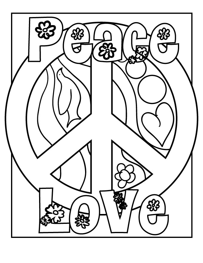 Best ideas about Peace Sign Coloring Sheets For Girls . Save or Pin Peace Sign Coloring Pages Now.