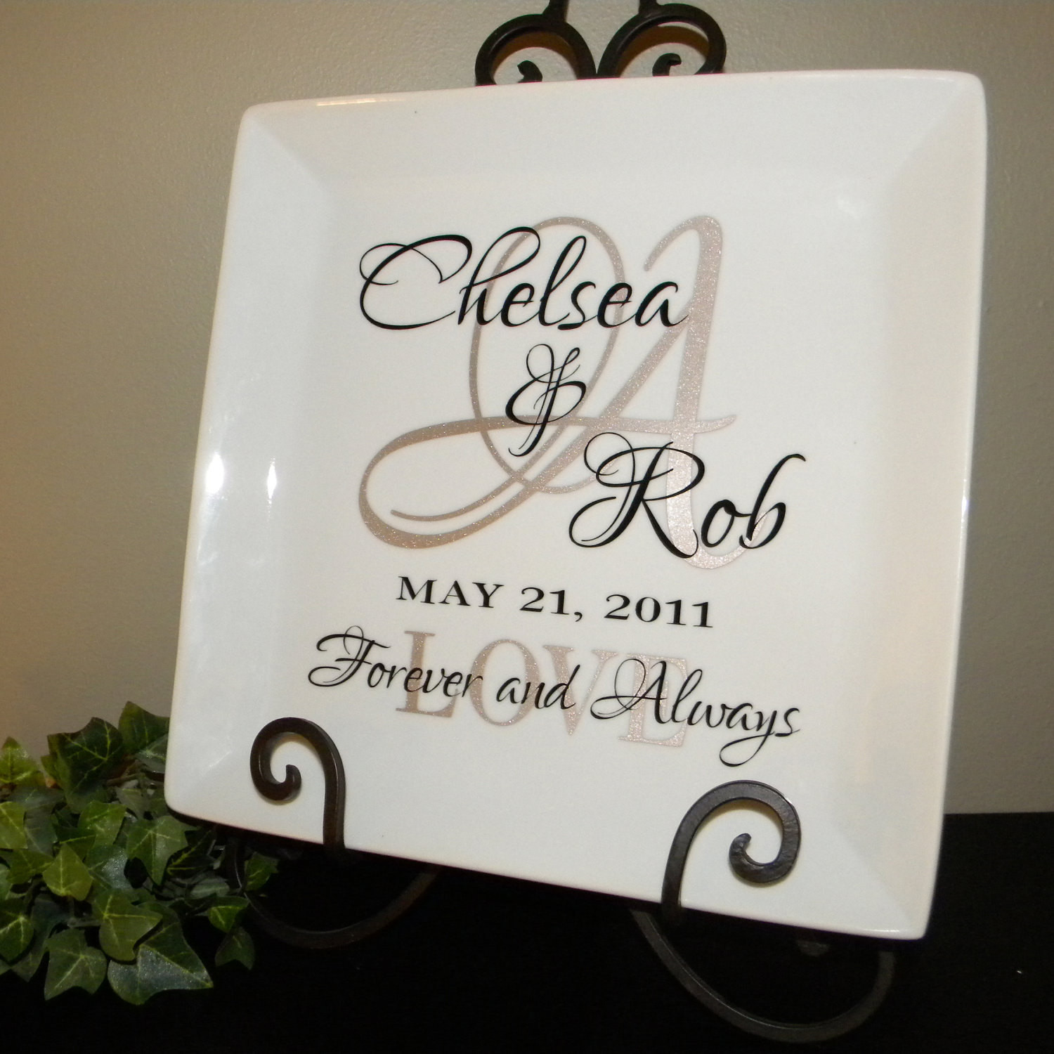 Best ideas about Personal Wedding Gift Ideas . Save or Pin Personalized Wedding Gift Plate Anniversary Gift For by Now.