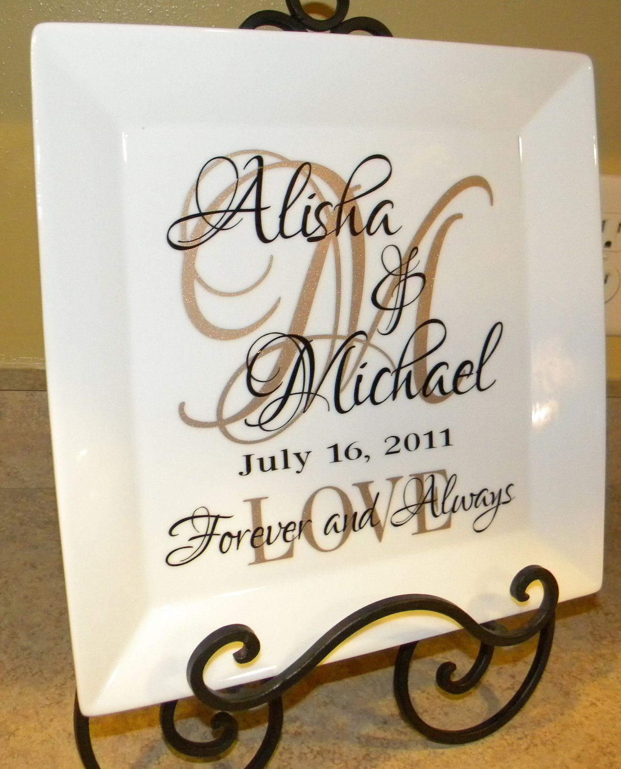 Best ideas about Personal Wedding Gift Ideas . Save or Pin Personalized Wedding Gift Plate Anniversary Gift For Now.