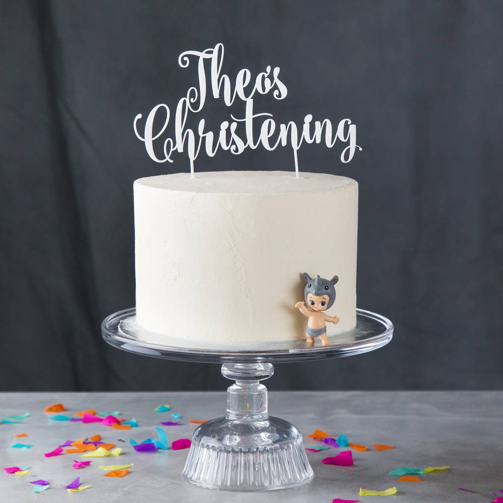 Best ideas about Personalised Birthday Decorations . Save or Pin personalised christening cake topper by twenty seven Now.