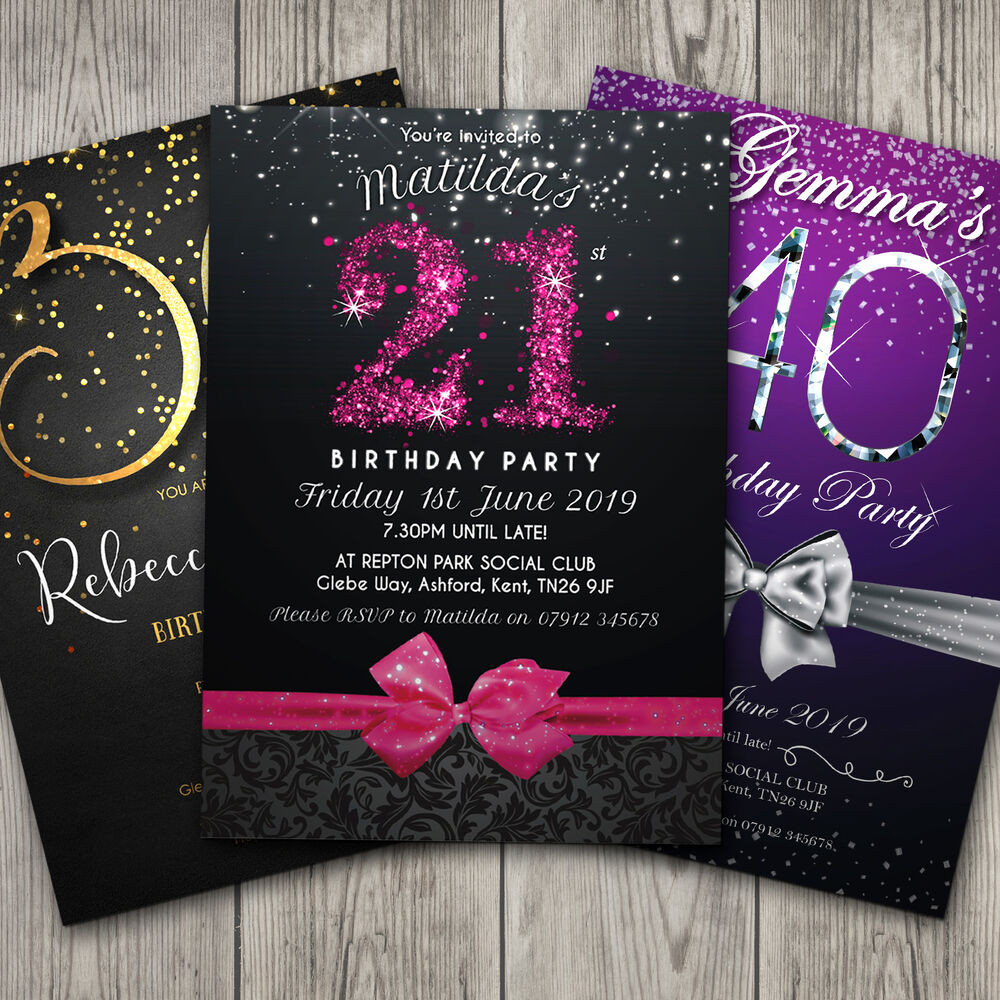 Best ideas about Personalised Birthday Decorations . Save or Pin Birthday Invitations Personalised Party Invites 18th 21st Now.