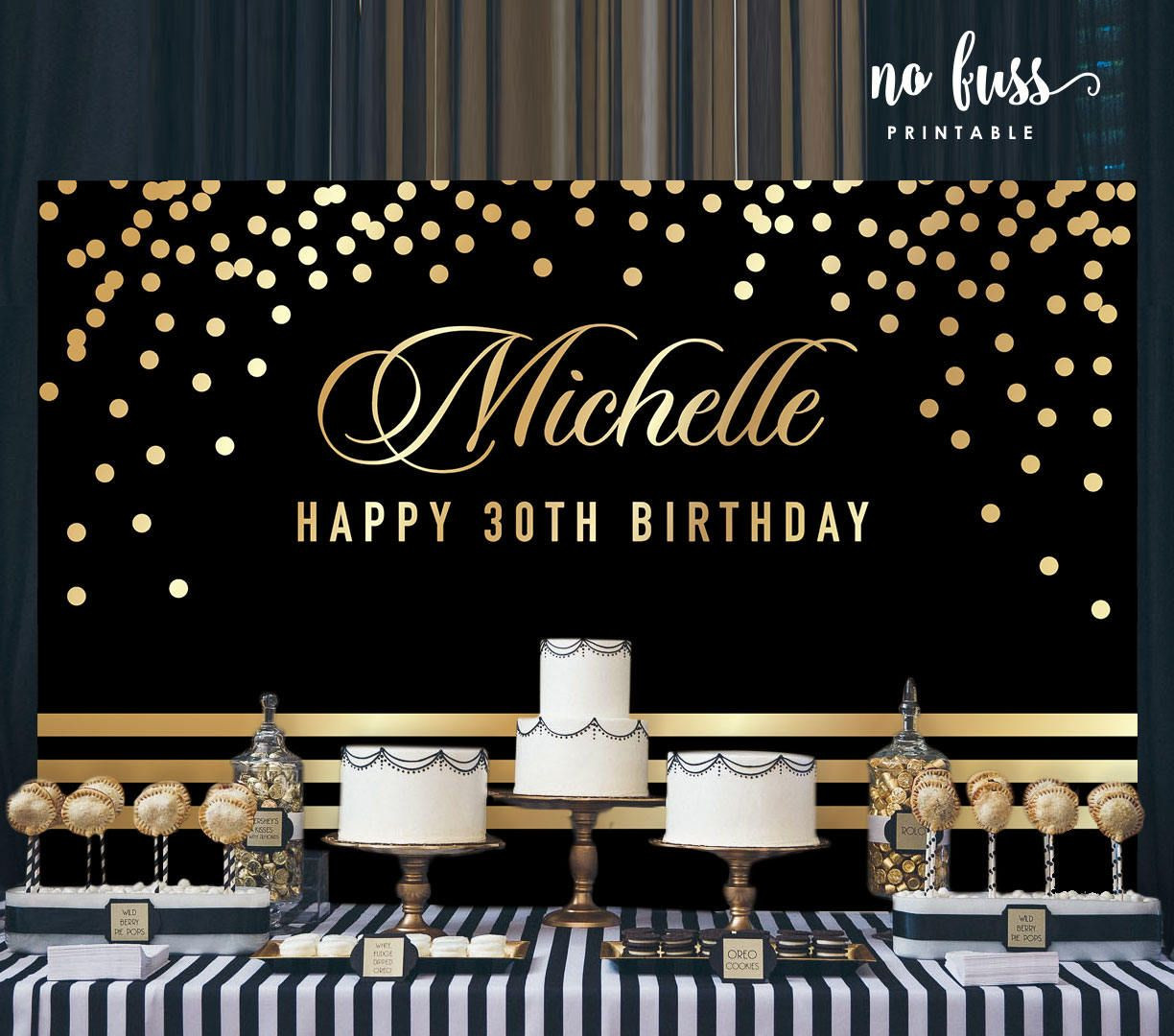 Best ideas about Personalised Birthday Decorations . Save or Pin Black and Gold Backdrop Adults Party Banner Now.