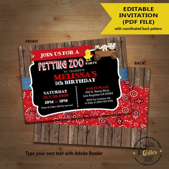 Best ideas about Petting Zoo Birthday Party . Save or Pin Petting zoo birthday party invitation farm petting zoo bandana Now.
