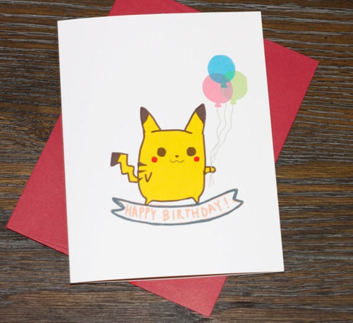 Best ideas about Pikachu Birthday Card . Save or Pin Happy Birthday Pikachu Pokemon Greeting Card by TurtlesSoup Now.