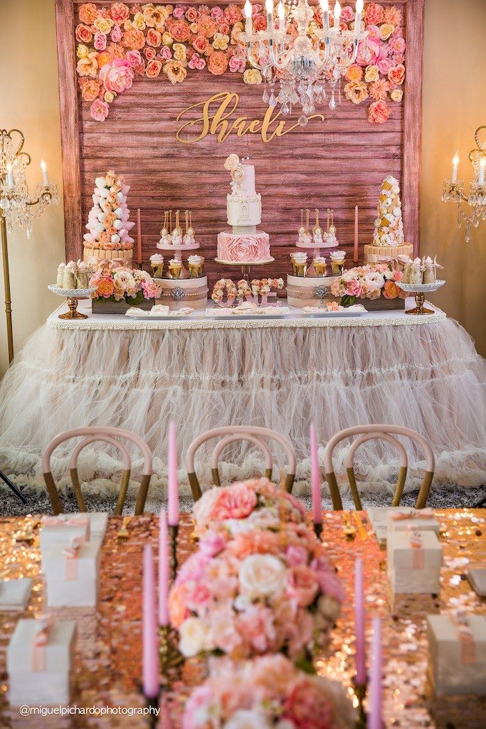 Best ideas about Pink And Gold Birthday Party Decorations . Save or Pin Kara s Party Ideas Pink Gold 1st Birthday Party Now.