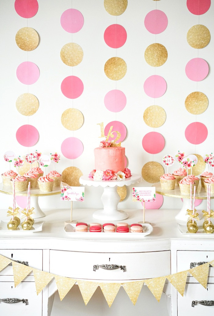 Best ideas about Pink And Gold Birthday Party Decorations . Save or Pin Kara s Party Ideas Pink Gold Half Birthday Party Now.
